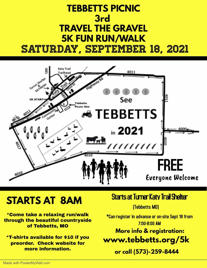 Tebbetts 5k Run 2021 - Sept 18