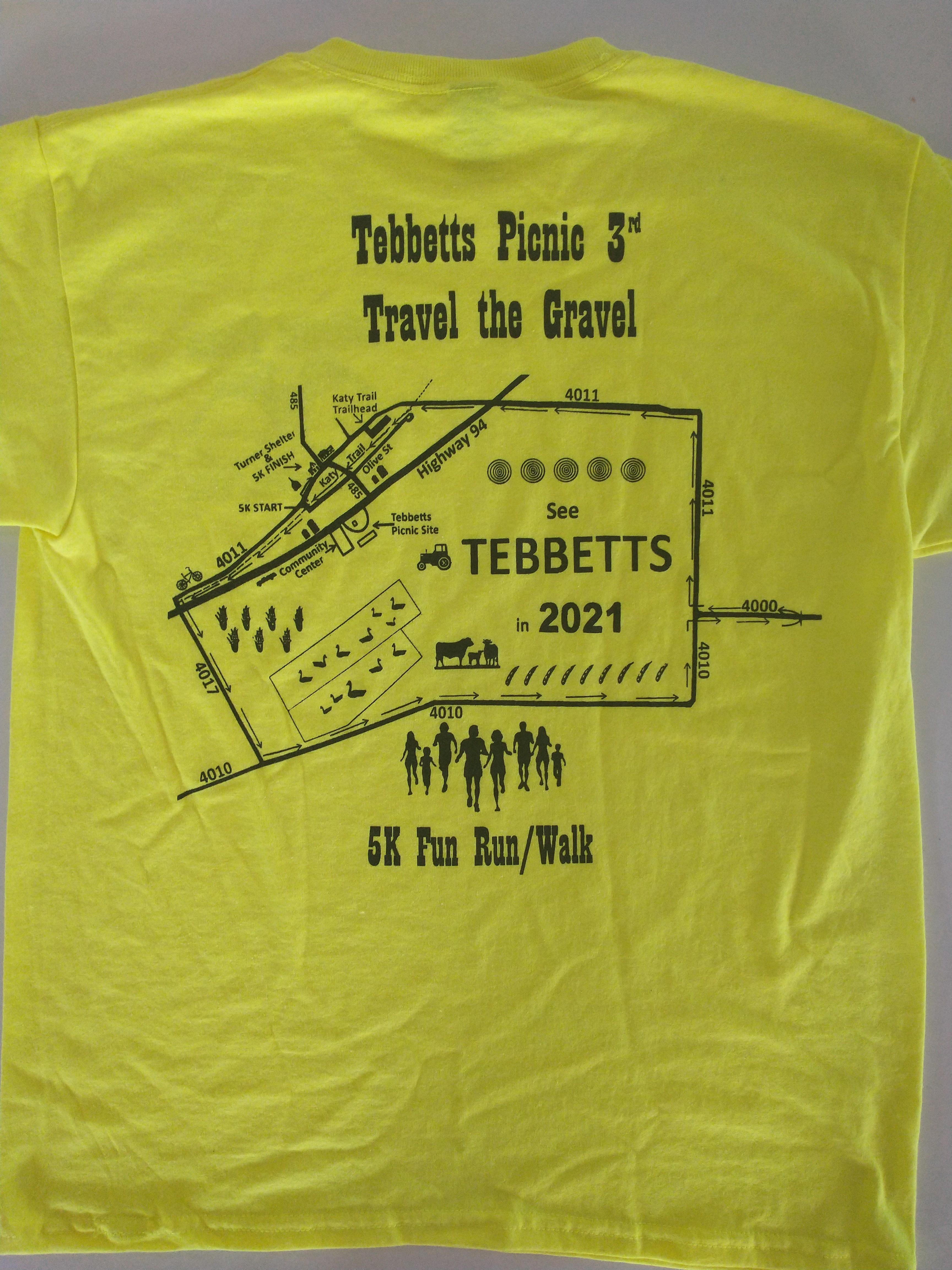 Tebbetts Picnic 5k shirt 2021 - back
